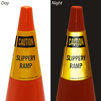 Caution Slippery Ramp Cone Collar
