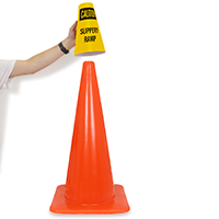 Caution Slippery Ramp Cone Message Collar