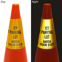Icy Parking Lot Cone Message Collar