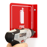 Fire Extinguisher with Down Arrow Sign