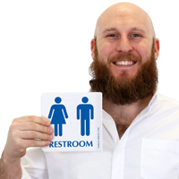 Unisex Restroom with Pictogram Sign