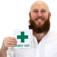 Projecting First Aid Sign
