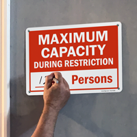 Maximum occupancy signs for social distancing