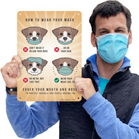 do's and don'ts of wearing a mask sign with dog graphic