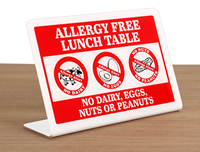 Allergy Free Lunch Table ShowCase™ Sign