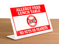 Allergy Free Lunch Table No Nuts Peanuts Desk Sign
