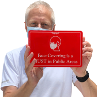 Wear face covering sign in red, for office