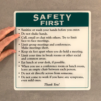 Office safety rules sign for social distancing