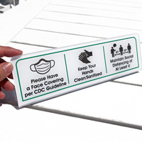 Keep Hands Clean Maintain Social Distancing Desk Sign