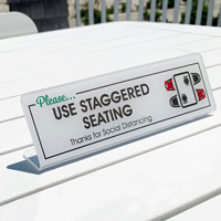 Please Use Staggered Seating Social Distancing Desk Sign