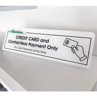 No Cash Payment Contactless Payment Only Desk Sign