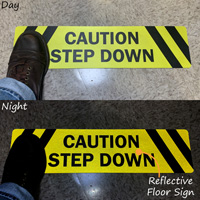 Caution - Step Down SlipSafe™ Floor Sign