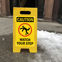 Caution Watch Your Step W/Graphic Fold-Ups® Floor Sign