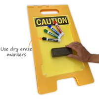 A-frame caution sign with dry erase finish
