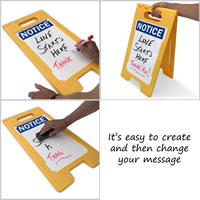 Change your message on you're a-frame sign easily, using dry erase markers