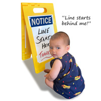 Dry erase portable a-frame can be used to give any message, including humorous ones!