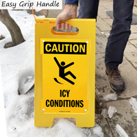 Icy caution sign