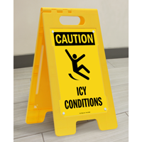 Caution Icy Conditions Free-Standing Signs