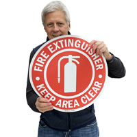 """17"""" fire extinguisher keep area clear floor sign"""