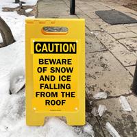 Beware of falling ice sign