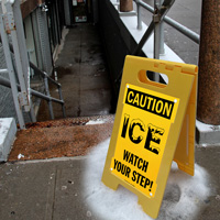 Caution - ICE, Watch Your Step Floor Sign
