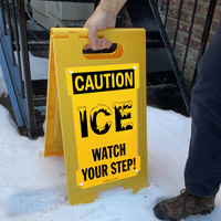 Watch your step it's icy caution sign