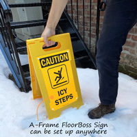 Icy steps sign