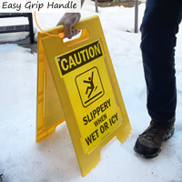 Caution icy floor sign