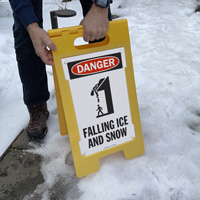 Falling ice and snow danger sign