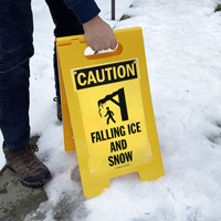 Caution falling ice and snow sign