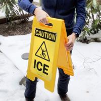 Ice warning sign for sidewalk