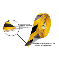 2 in. Solid Black/Yellow Floor Marking Tape