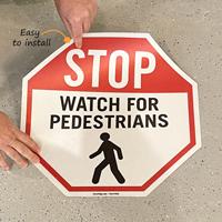 Watch for pedestrians floor decals