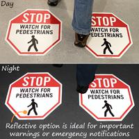 Reflective watch for pedestrians floor decals