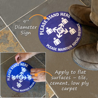 Social distancing adhesive floor sign for tile