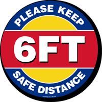 Please Keep 6ft Safe Distance SlipSafe Floor Sign