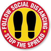 Follow Social Distancing Stop The Spread SlipSafe Floor Sign