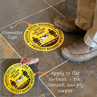 Applying a social distancing adhesive floor sign