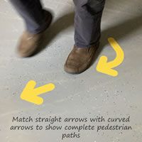 Floor arrow markers are available in yellow, blue, green, black and orange