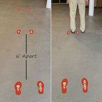 6 feet apart footprints