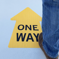 One way directional floor signs