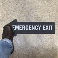 Emergency Exit, Thin Arrow SlipSafe™ Floor Sign