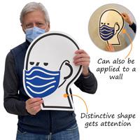 Distinctive shape wear a mask floor decal