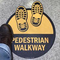 Pedestrian Walkway with Shoeprints SlipSafe™ Floor Sign