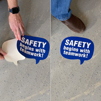 Safety begins with teamwork floor decal