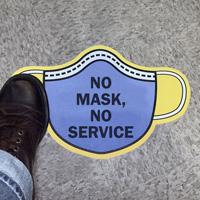 Mask Shaped - No Mask, No Service SlipSafe™ Floor Sign