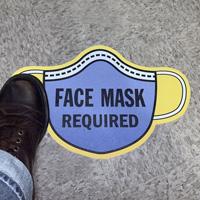 Mask Shaped - Face Mask Required SlipSafe™ Floor Sign