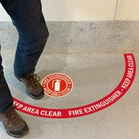 Do not block fire extinguisher floor sign kit