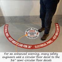 Order both a circular and these arc signs to make an effective electrical panel floor sign kit