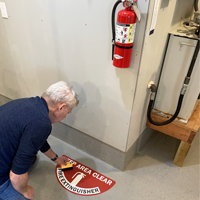 Keep area clear fire extinguisher floor decal
